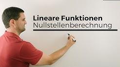 Lineare Funktionen, Übersicht mit Nullstellenberechnung   Mathe by Daniel Jung