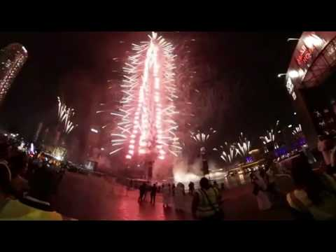 360 VR Burj Khalifa Dubai New Year Eve Fireworks 2017 HD Virtual Reality