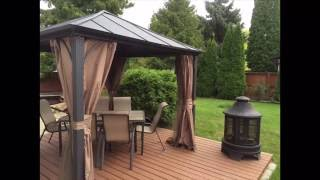 NEW CRAZY PROJECT.NEW METAL ROOF GAZEBO 10X10 .NEW DECK.NEW PATIO DINING SET.NEW FIRE PIT.