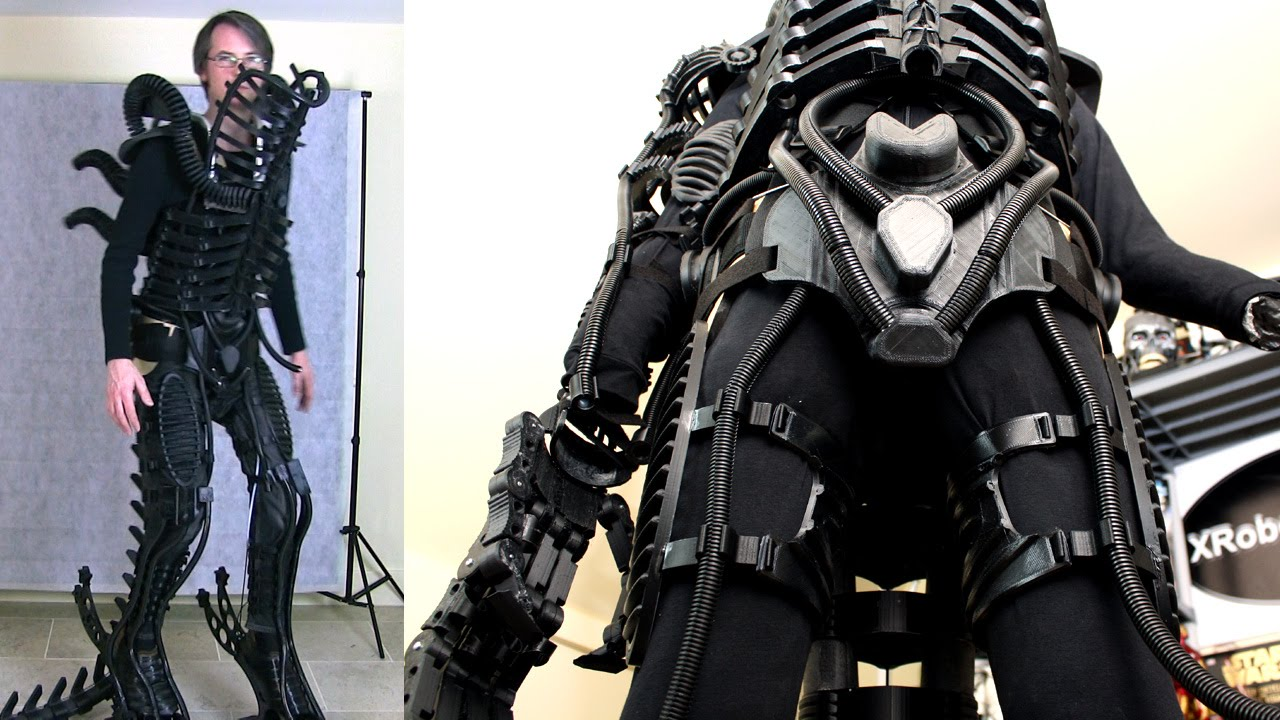 XRobots - 3D Printed Alien Xenomorph Cosplay Part 18 Thighs Cod Suit Up! | James Bruton - YouTube & XRobots - 3D Printed Alien Xenomorph Cosplay Part 18 Thighs Cod ...