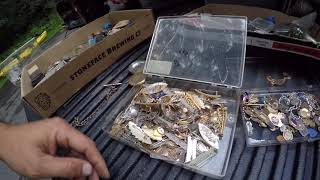 Going through my Purchase from Brimfield watch parts & jewelry looking for gold and other treasure