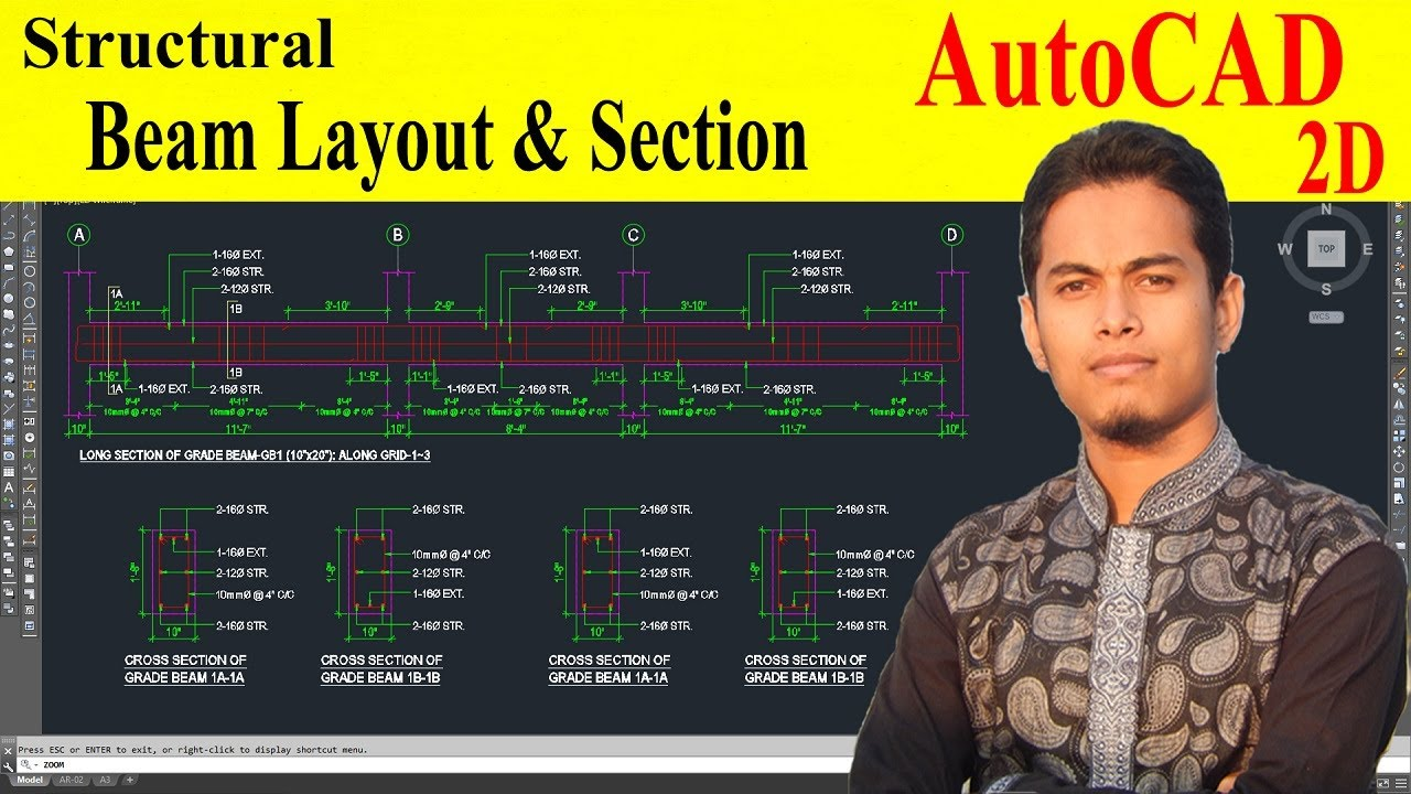 How to draw beam in autocad