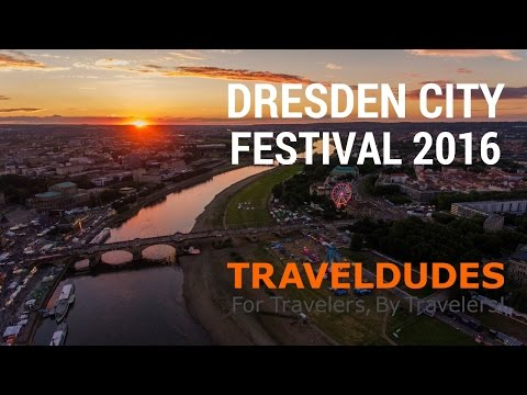 Dresden City Festival 2016 with Traditional Dress, Zwinger Palace, and Fireworks in Saxony Germany