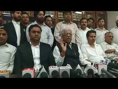 President of Jammu High Court Bar Association, B S Slathia addresses media