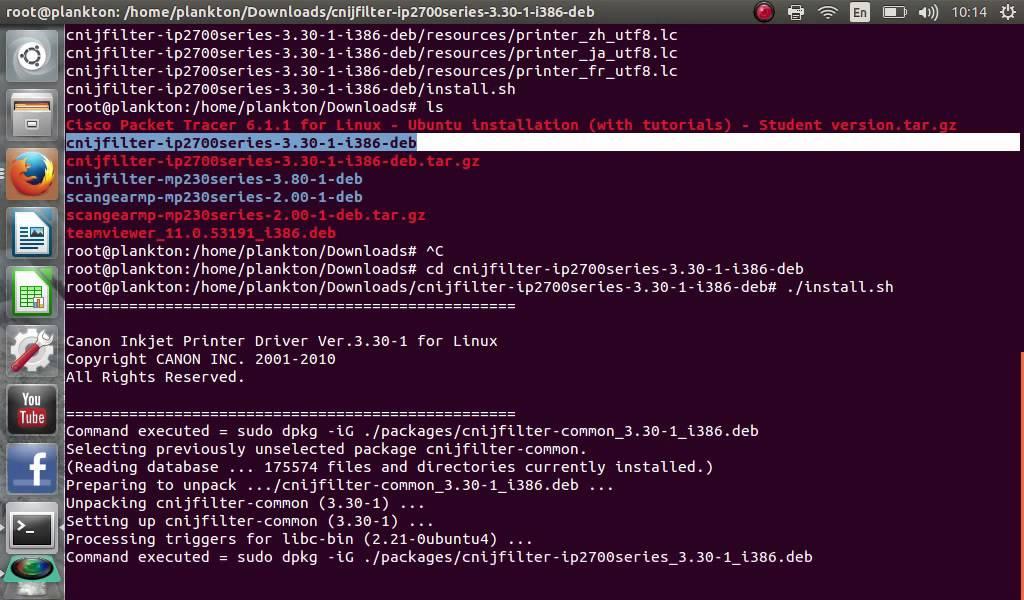 Cara install printer canon iP2700 di linux ubuntu