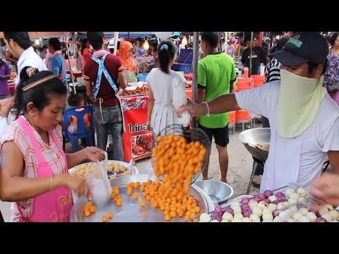 Thai Dessert: Cooking Thai Street Food Desserts and Sweets. Street Food Vendors in Thailand