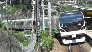 JR中央線 笹子駅を特急かいじ通過