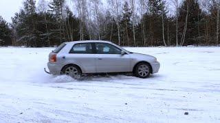 audi a3 drifting in snow   8l 1 6 101 hp