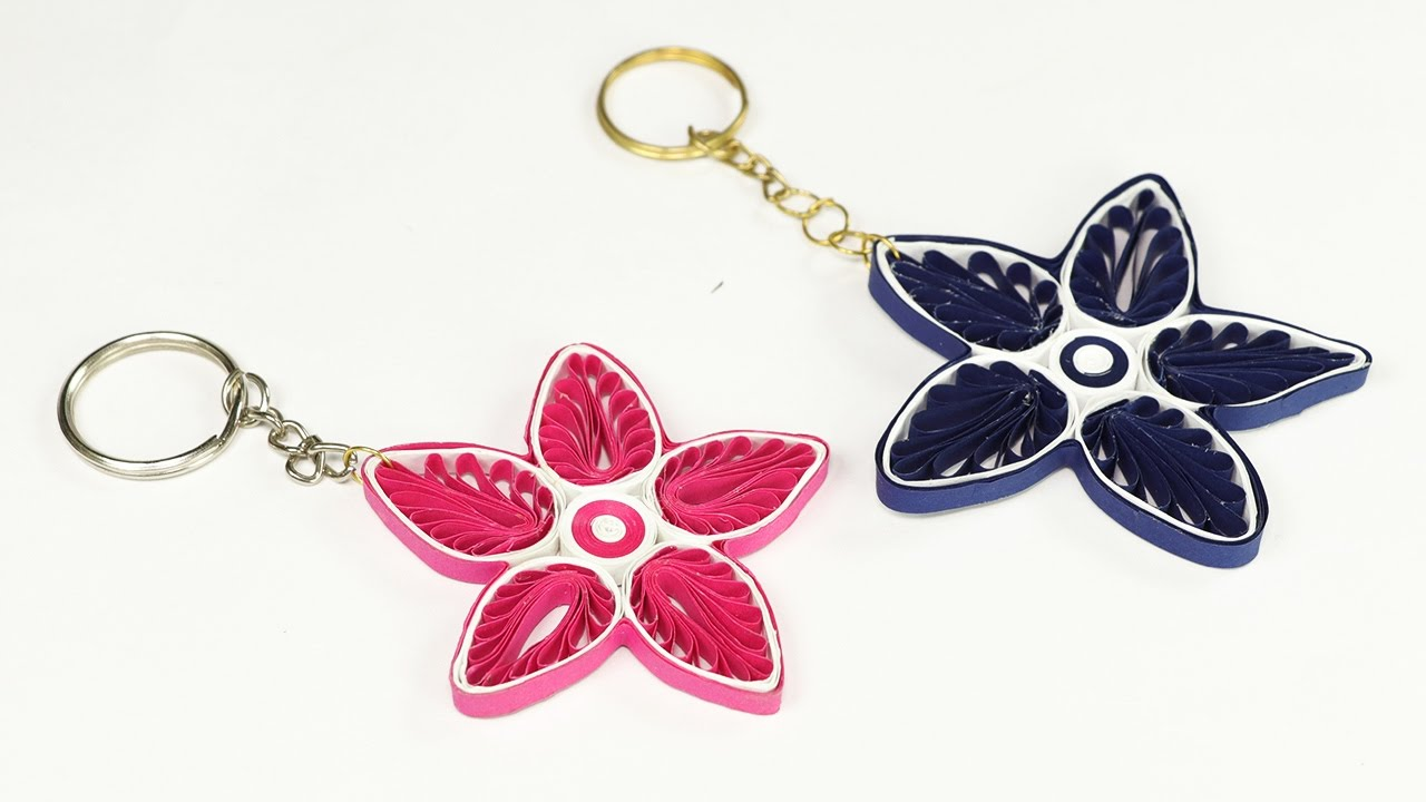 Paper Quilling How To Make Keychains From Quilling Art Simple And Easy Craft Youtube