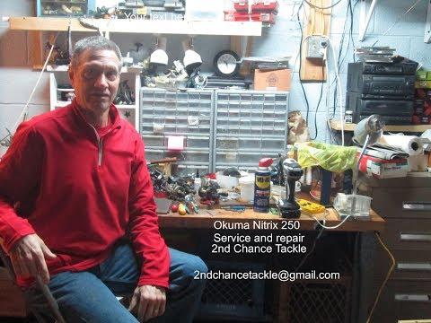 Okuma Nitrix 250 round bait caster fishing reel take apart and servie