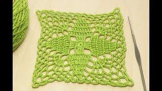 Crochet motif tutorial  КВАДРАТНЫЙ МОТИВ вязание крючком