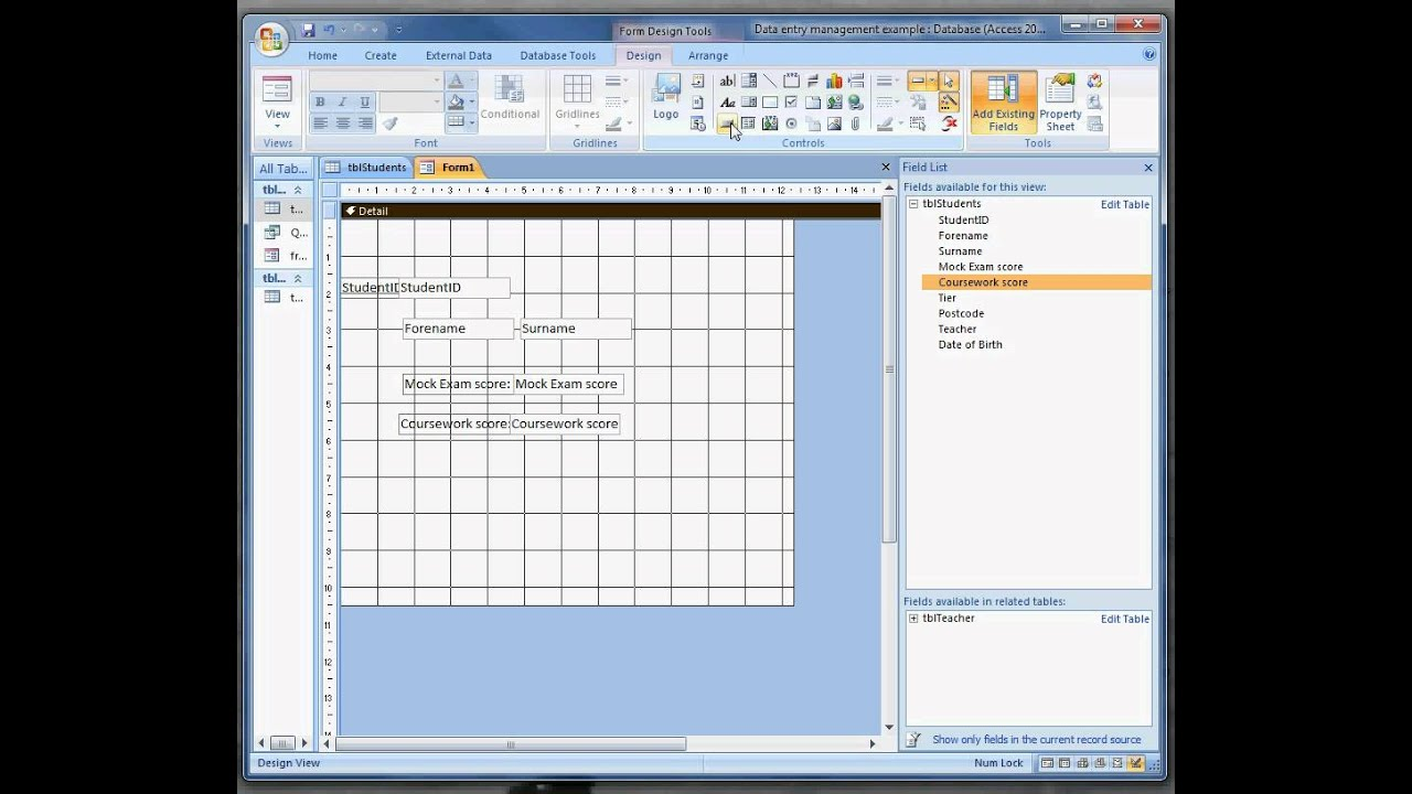 Adding Navigation controls to forms in Access 2007 avi