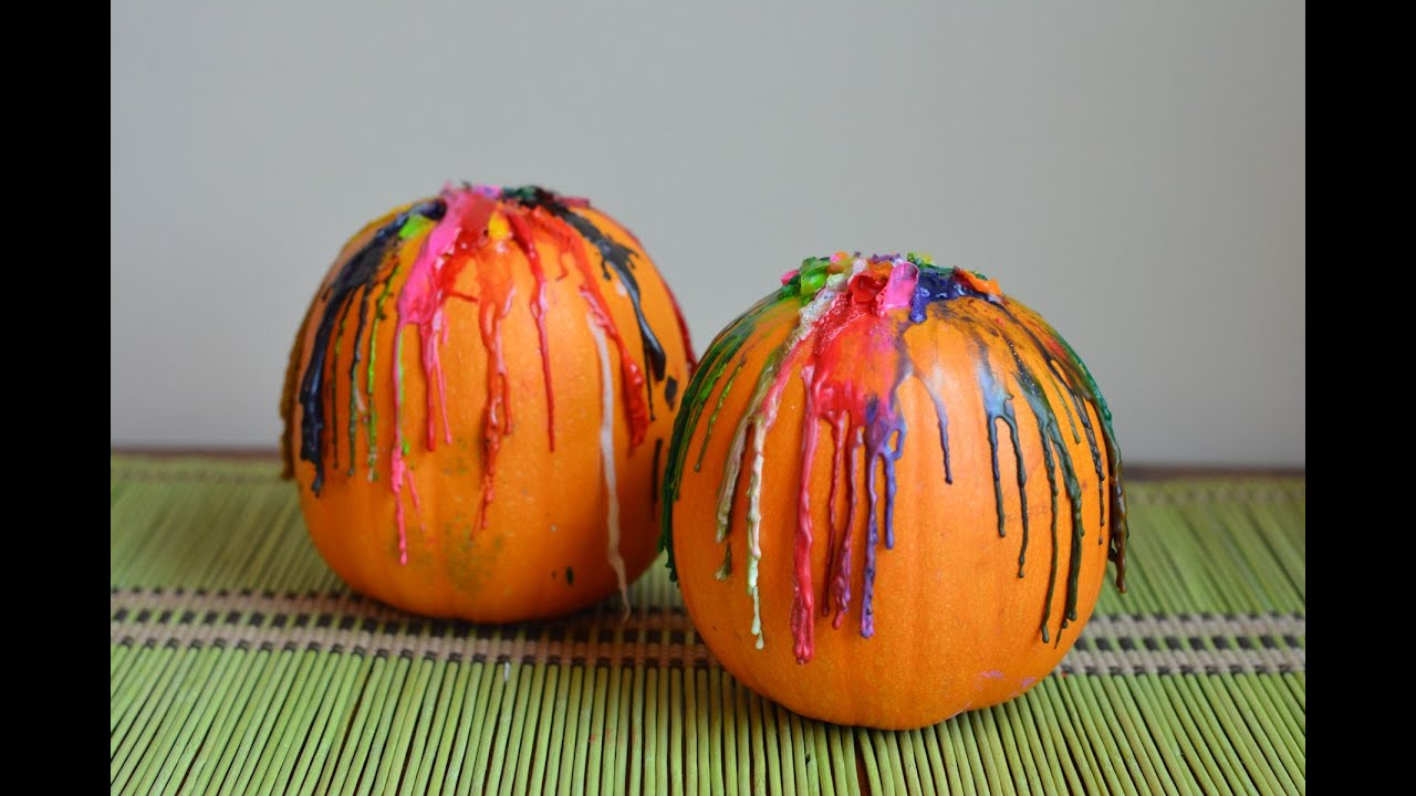 How To Decorate A Pumpkin With Melted Crayons Youtube