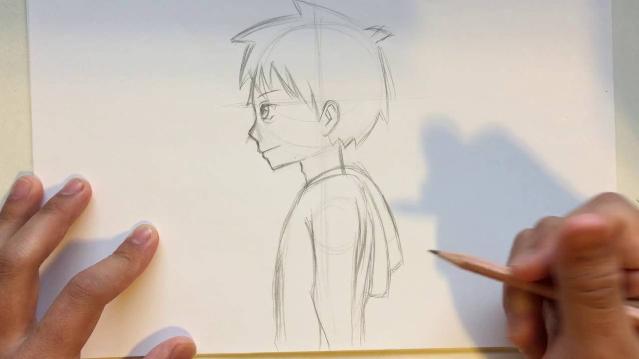 draw anime male head side