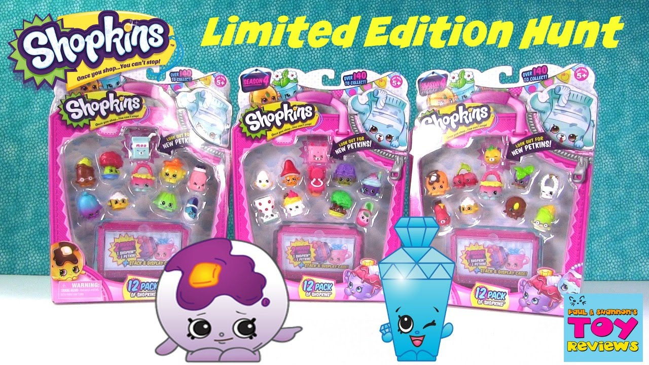 Shopkins Season 4 Limited Edition Hunt 12 Pack Opening Unboxing Pstoyreviews Youtube