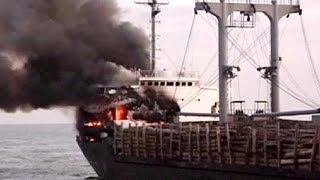 China: 23 rescued from ship fire in Yangtze River - no comment