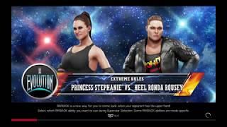 WWE 2K19 Princess Stephanie VS Heel Ronda Rousey 1 VS 1 Extreme Rules Match
