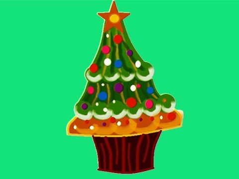How To Draw A Cute Christmas Tree Cupcaken Ms Paint