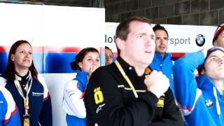 BMW team reaction when Haslam and Melandri crash at Donington