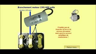 Branchement d'un moteur triphasé 380v en monophasé 220v