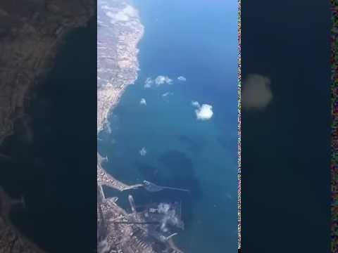 Malaga port and coast aerial view