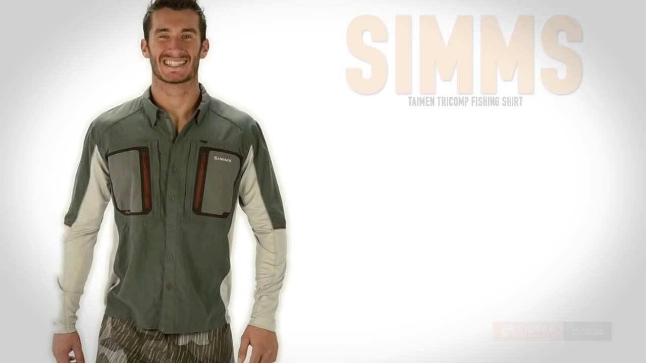 Simms taimen tricomp fishing shirt upf 50 long sleeve for Men s upf long sleeve shirt