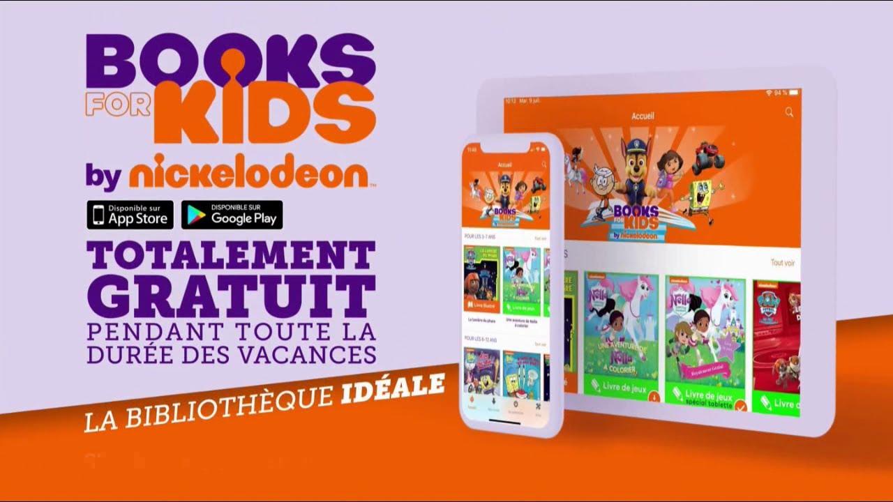 """Appli Books for Kids by Nickelodeon """"gratuit pendant les vacances"""" Pub 22s"""