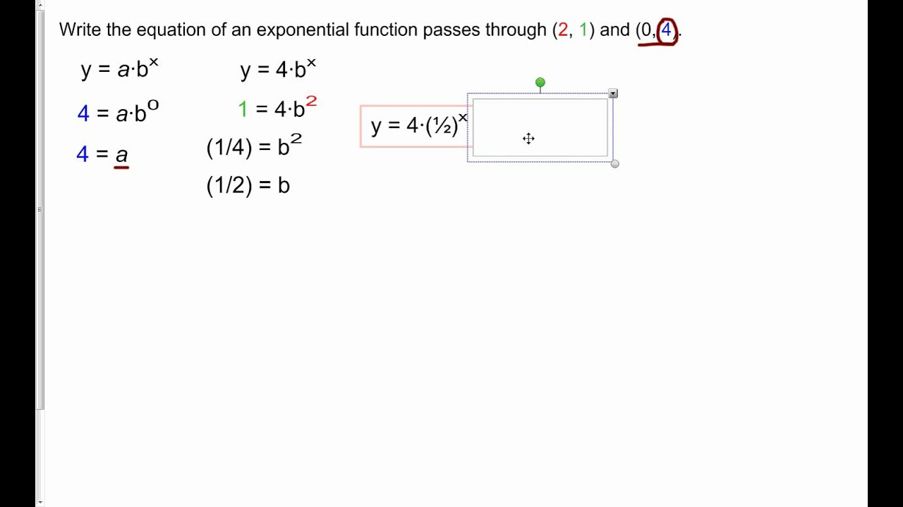 C2 Find Exponential Equation Given A Point And A Yintercept