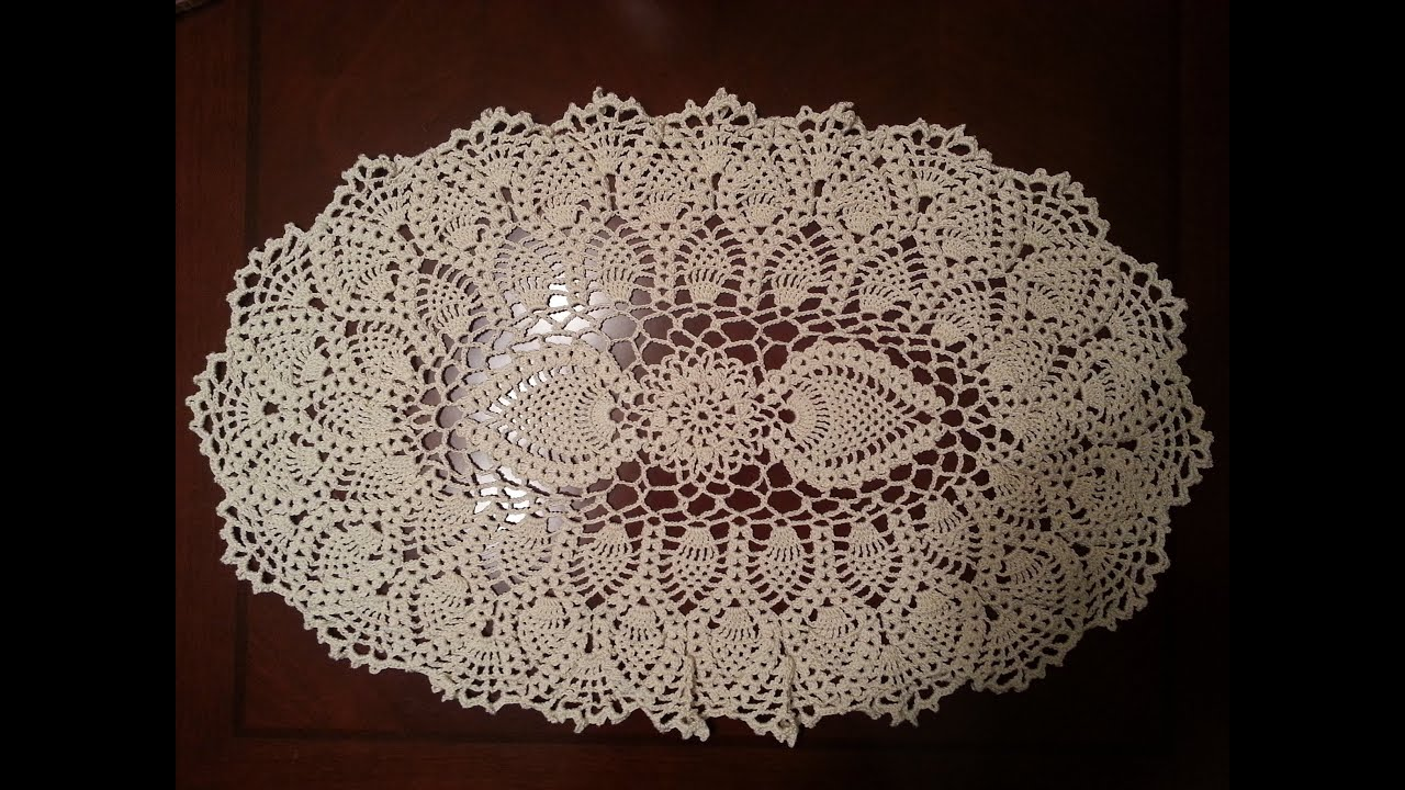 Crochet Doily   Oval Pineapple Doily Part 1