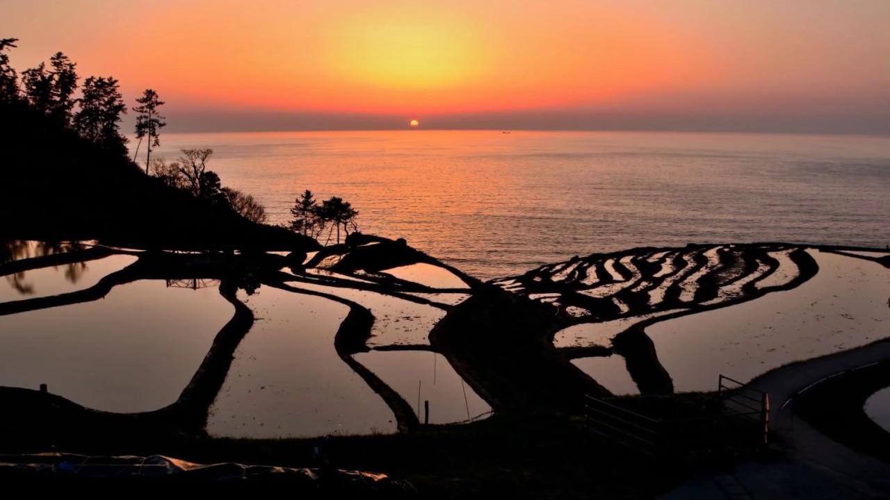 海の絶景 雨晴海岸の朝日と白米千枚田の夕陽 2018-4-29 - YouTube