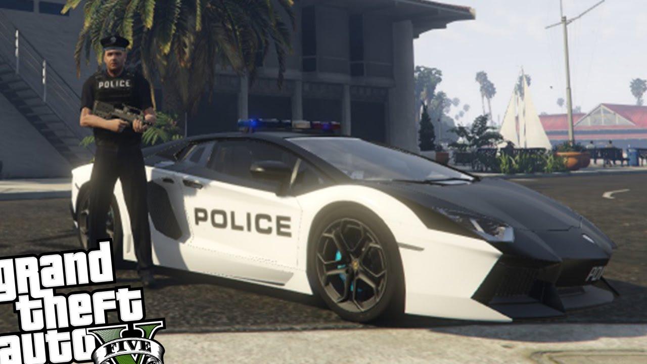 Gta 5 Pc Police Mod  Police Lamborghini Aventador Patrol