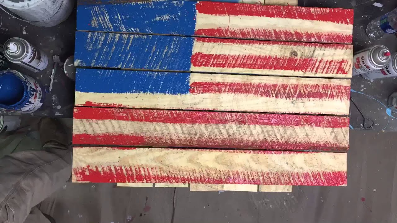 American Flag On Pallet Wood Painting