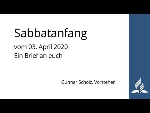 Sabbatanfang Vom 03. April 2020 | Ein Brief An Euch