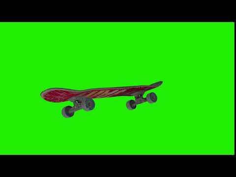 Футаж скейт боард летит в воздухе на зеленом фоне (хромакей)