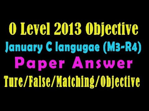 O Level Doeacc/Nielit C Language Paper 2013 January Solve Question M3-R4  Objective Type