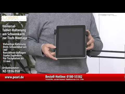 Callstel Universal-Tablet-Halterung am Schwenkarm zur Tisch-Montage