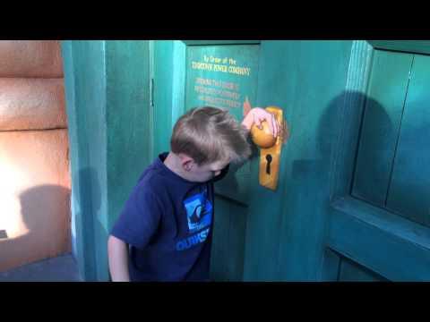 Caution: DO NOT open this door!  Toon Town Pretend Electric Door at Disneyland