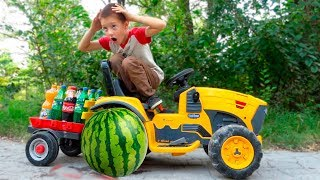 Kids Ride on Power Wheels and the Watermelon Wheel Fell off, Tractor Repair Action