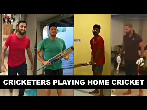 Cricketers Playing Home Cricket ft. Shikhar Dhawan, Steve Smith, Hardik Pandya, Rashid Khan.