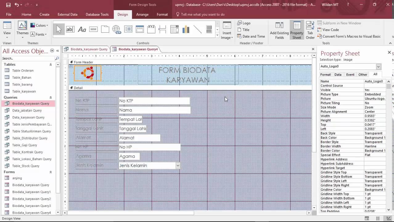 tutorial cara membuat form dan report database dengan ms access 2016 download