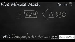 5th Grade Math Compare and Order Decimals