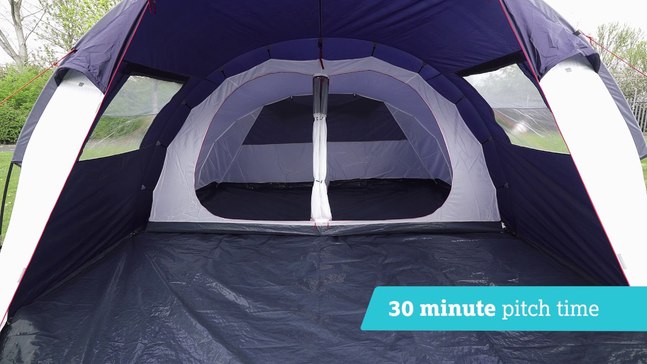 Halfords 6 Person Family Tunnel Tent & Halfords 6 Person Family Tunnel Tent - YouTube