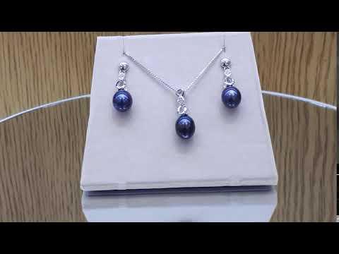 Selena - Комплект сребърни обеци и висулка с перла (тъмен цвят) АА 8 - 8.5 мм и циркони
