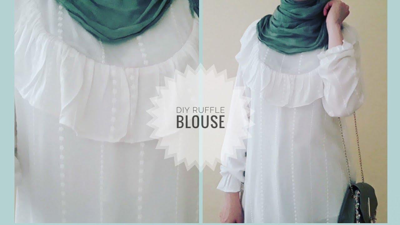 خياطة البلوزة التركية المشهورة😍بمترين قماش فقط//diy ruffle blouse