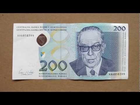 200 Bosnian Convertible Mark Banknote (200 Konvertibilnih Maraka) Face & Reverse