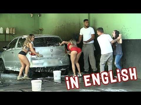 Beautiful Women Wash Car Wearing Only Lingerie