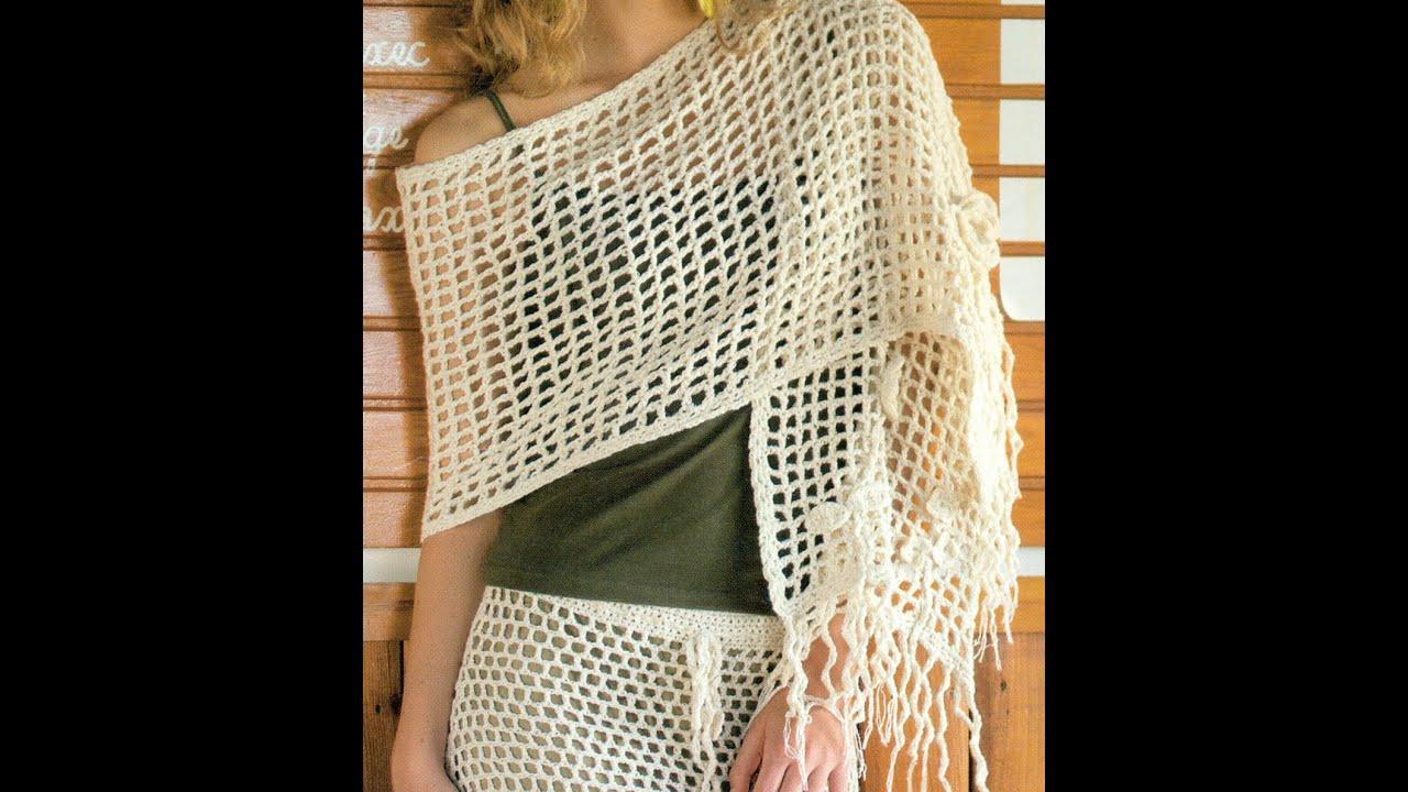 Patrón Para Tejer Chal con Flores a Crochet - YouTube