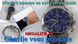 Montre homme en acier inoxydable et bracelet de luxe mode étanche chronographe date MEGALITH FR