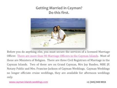 How to secure the services of a marriage officer in the Cayman Islands