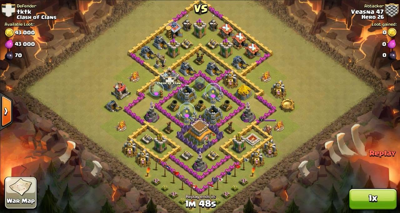 Clash of Clans TH8 vs TH8 Dragon Clan War 3 Star Attack